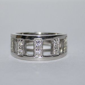 NWT sterling silver wide cz band ring size 5